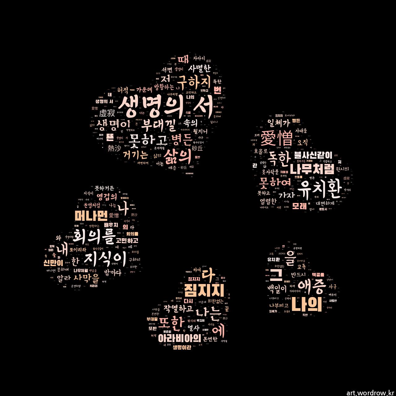 워드 클라우드: 생명의 서 [유치환]-43